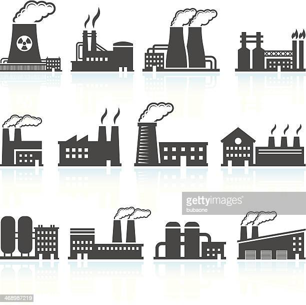 factory black & white royalty free vector arts set - nuclear energy stock illustrations