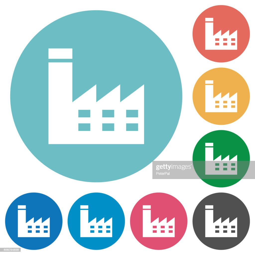Factory building flat round icons