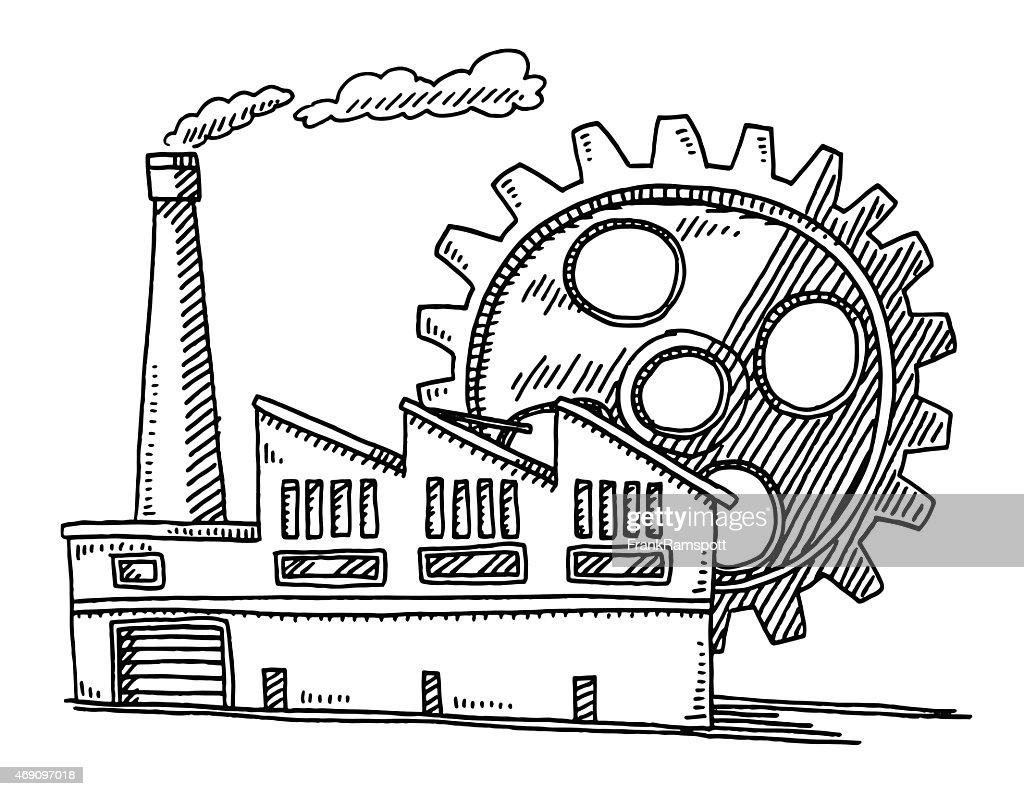 Factory Building Gear Symbol Drawing Vector Art | Getty Images