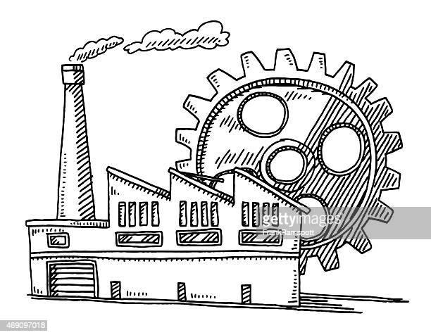 Fabrik Gebäude Ausrüstung Symbol Abbildung