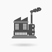 Factory Building Icon Vector Illustration Silhouette.