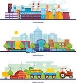 Factory building, lurban landscape, transport, an eco green village