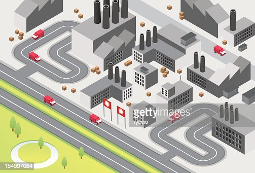 Factory complex with road and truck
