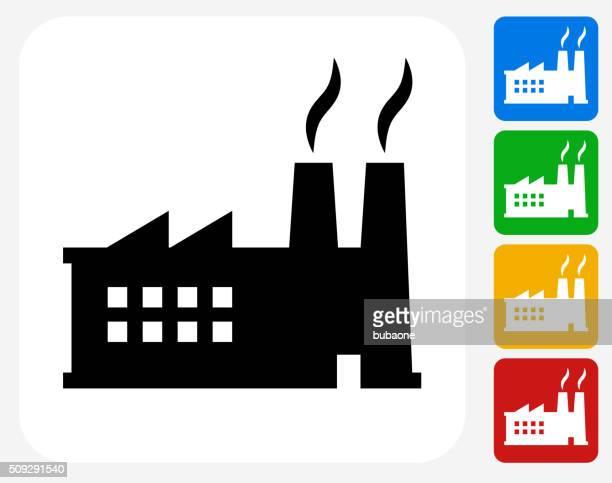 Icono de fábrica planos de diseño gráfico