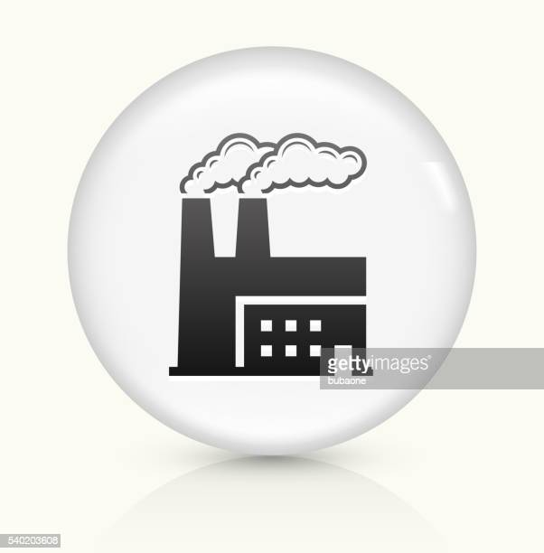 factory icon on white round vector button - vapor trail stock illustrations, clip art, cartoons, & icons
