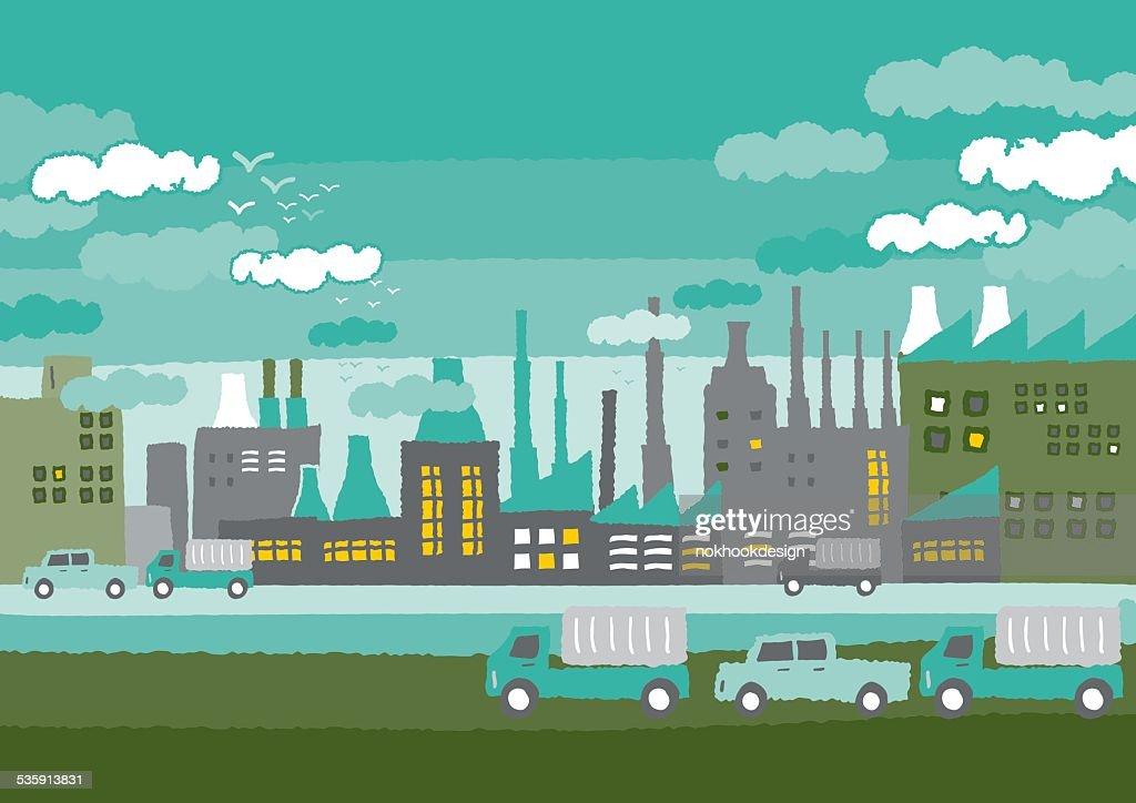 Fábrica en la ciudad verde conceptos : Arte vectorial
