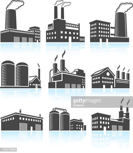 Factory Industrial Power Plant Buildings black & white icon set