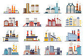 Factory industry manufactory power electricity buildings flat icons set isolated. Urban factory plant landscape vector illustration.