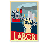 Factory Labor Poster In Beige Color
