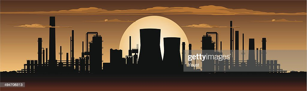 Factory Panorama at Night : stock illustration