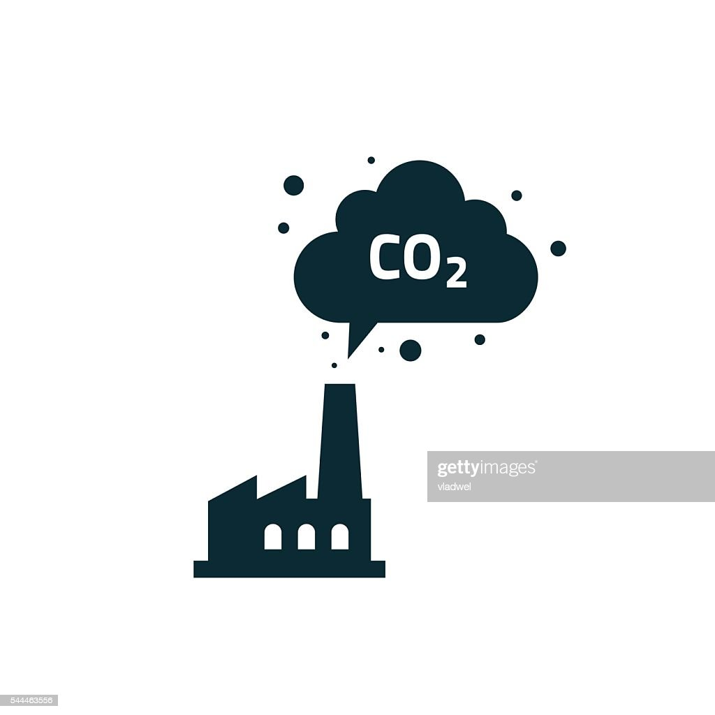 Factory plant silhouette chimney polluting CO2 emissions cloud smoke vector