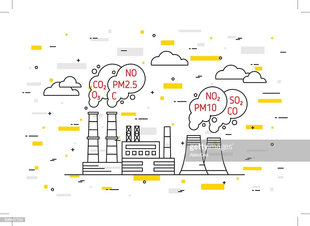 Factory pollutes atmosphere vector illustration