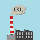 Factory Power Plant Emitting CO2 Pollution