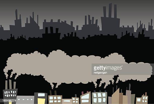 Factory with smoke and skyline