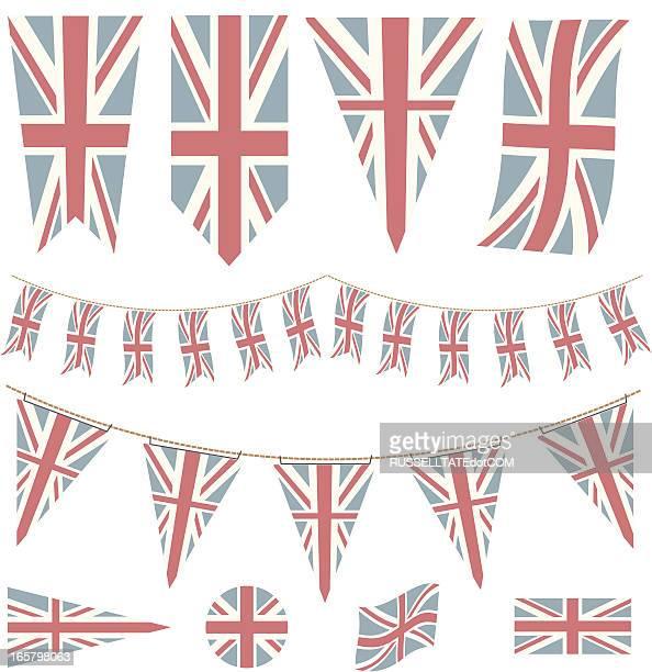 ilustraciones, imágenes clip art, dibujos animados e iconos de stock de descolorido banderas británicas y pennants - bandera del reino unido