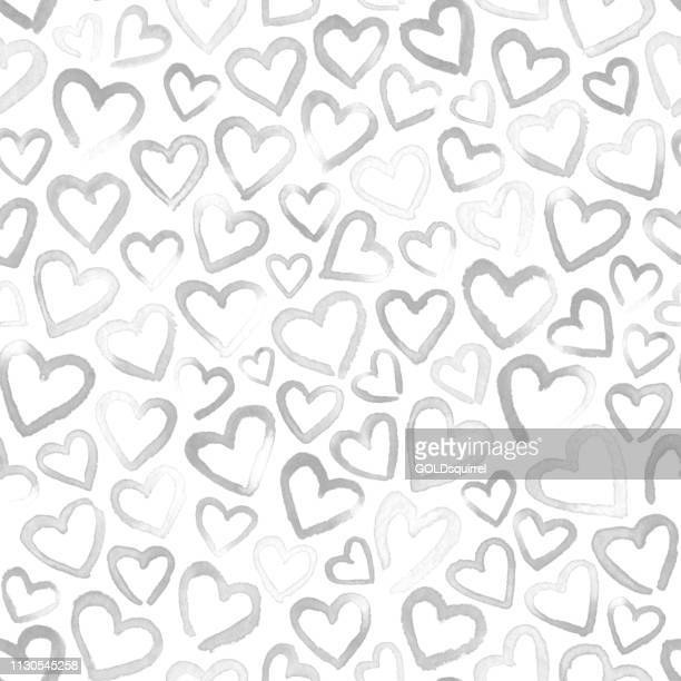 ilustrações, clipart, desenhos animados e ícones de a mão desvanecida pintou os corações pintados da aguarela isolados no fundo branco-arte gráfica handmade da luz imperfeita moderna original de minimalista nas máscaras de preto e branco com muitas imperfeições no vetor - símbolo do coração
