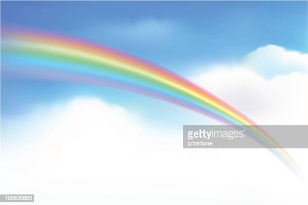 faded rainbow in the sky going into some clouds - ethereal stock illustrations, clip art, cartoons, & icons