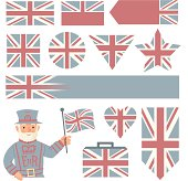 Faded UK flags