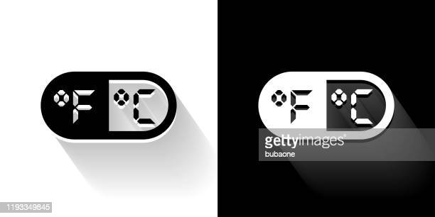 fahrenheit & celsius black and white icon with long shadow - fahrenheit stock illustrations