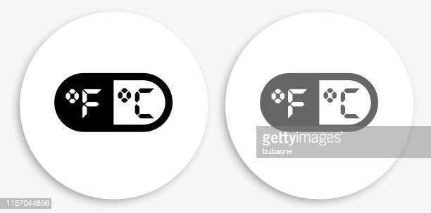 fahrenheit & celsius black and white round icon - fahrenheit stock illustrations
