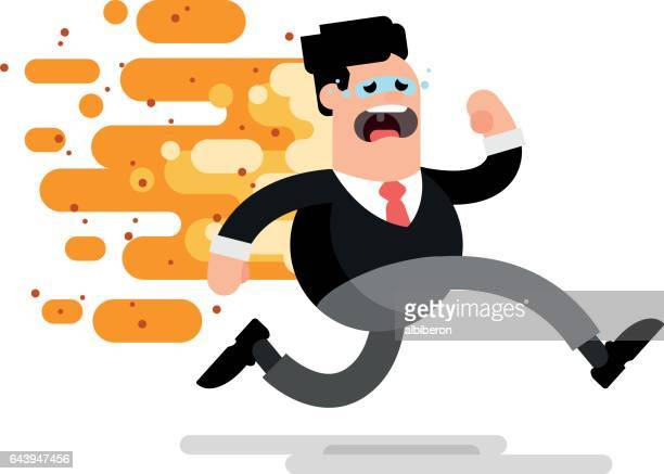 failed businessman running on fire - out of business stock illustrations, clip art, cartoons, & icons