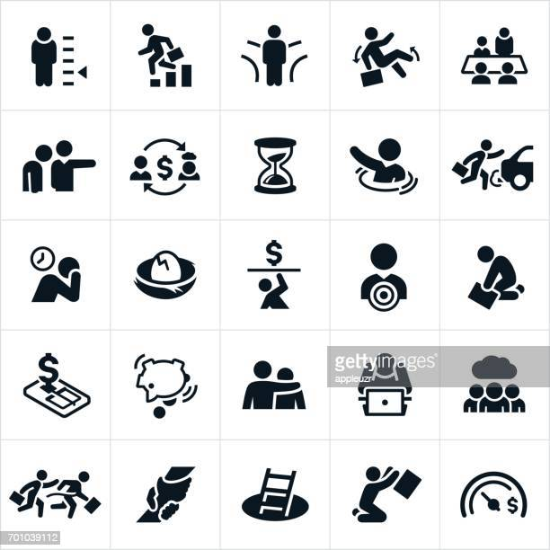 failing at business icons - bad luck stock illustrations, clip art, cartoons, & icons