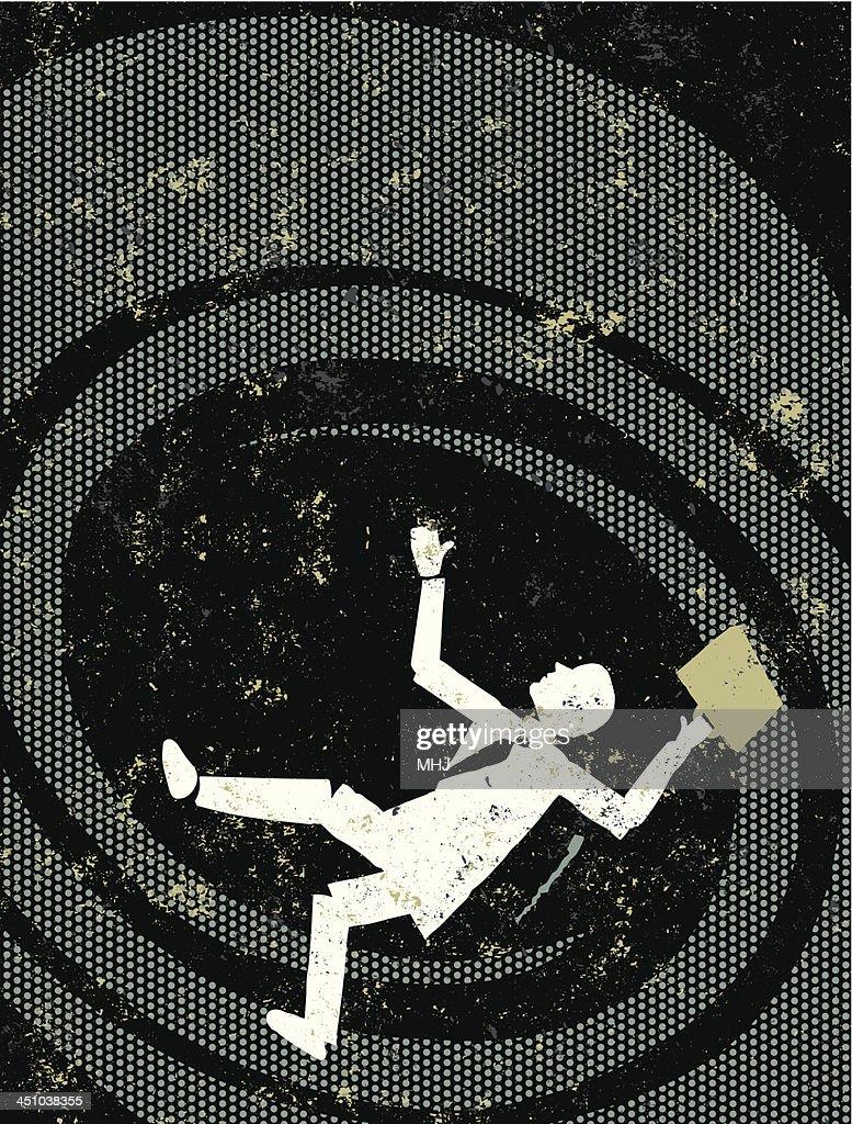 Failing Business Man Falling Down a Vortex : Vector Art