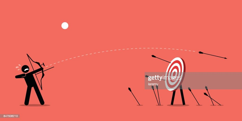 Failing to hit the target. : stock illustration
