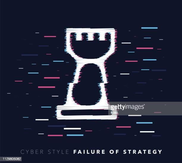 ilustraciones, imágenes clip art, dibujos animados e iconos de stock de fracaso de la estrategia falla efecto vector icono ilustración - torre pieza de ajedrez