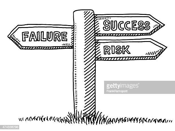Failure Success Option Directional Sign Drawing