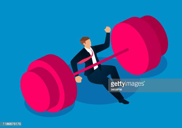 failure, the businessman was overwhelmed by huge dumbbells - holding up sign stock illustrations