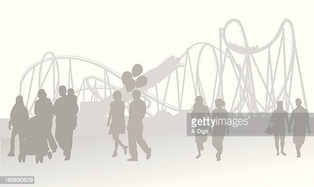 fair background vector silhouette - carnival ride stock illustrations, clip art, cartoons, & icons