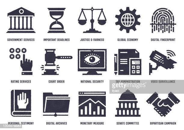 fair & transparent governance vector icon pack with stipple texture effect - local politics stock illustrations