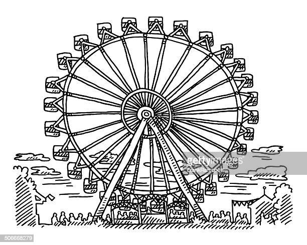 fairground ferris wheel drawing - ferris wheel stock illustrations, clip art, cartoons, & icons