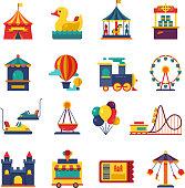 Fairground games and amusement park flat vector icons