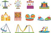 Fairground games, playgrounds and relaxing amusement park