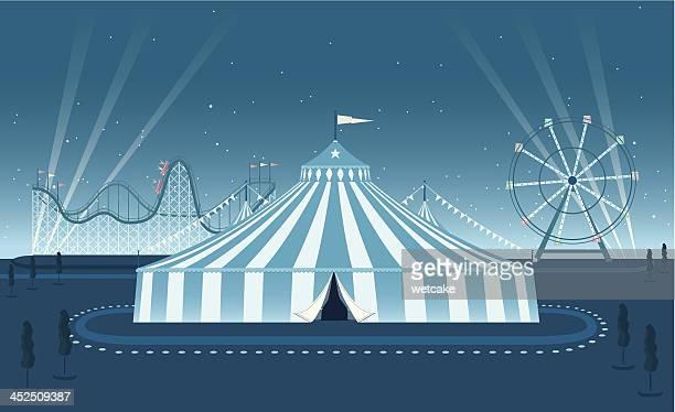 ilustraciones, imágenes clip art, dibujos animados e iconos de stock de escena nocturna de la feria - carpa de circo