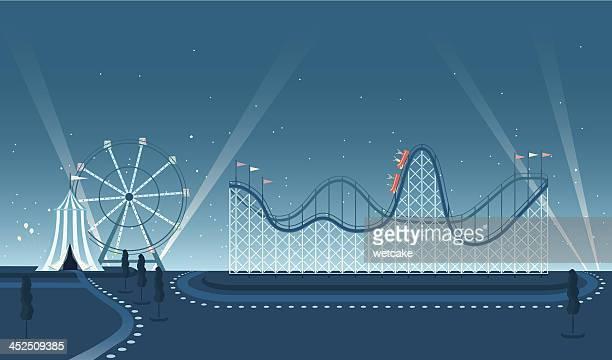Fairground Rollercoaster Night Scene