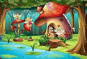 Fairies flying around mushroom house