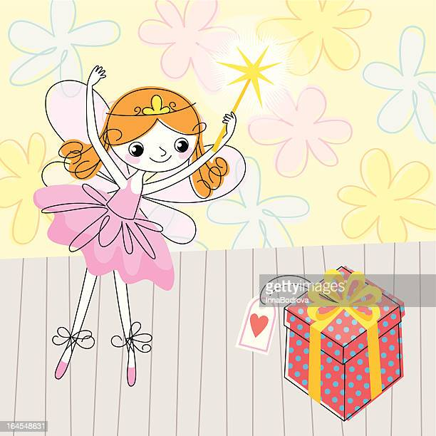 fairy and a gift. - fairy stock illustrations