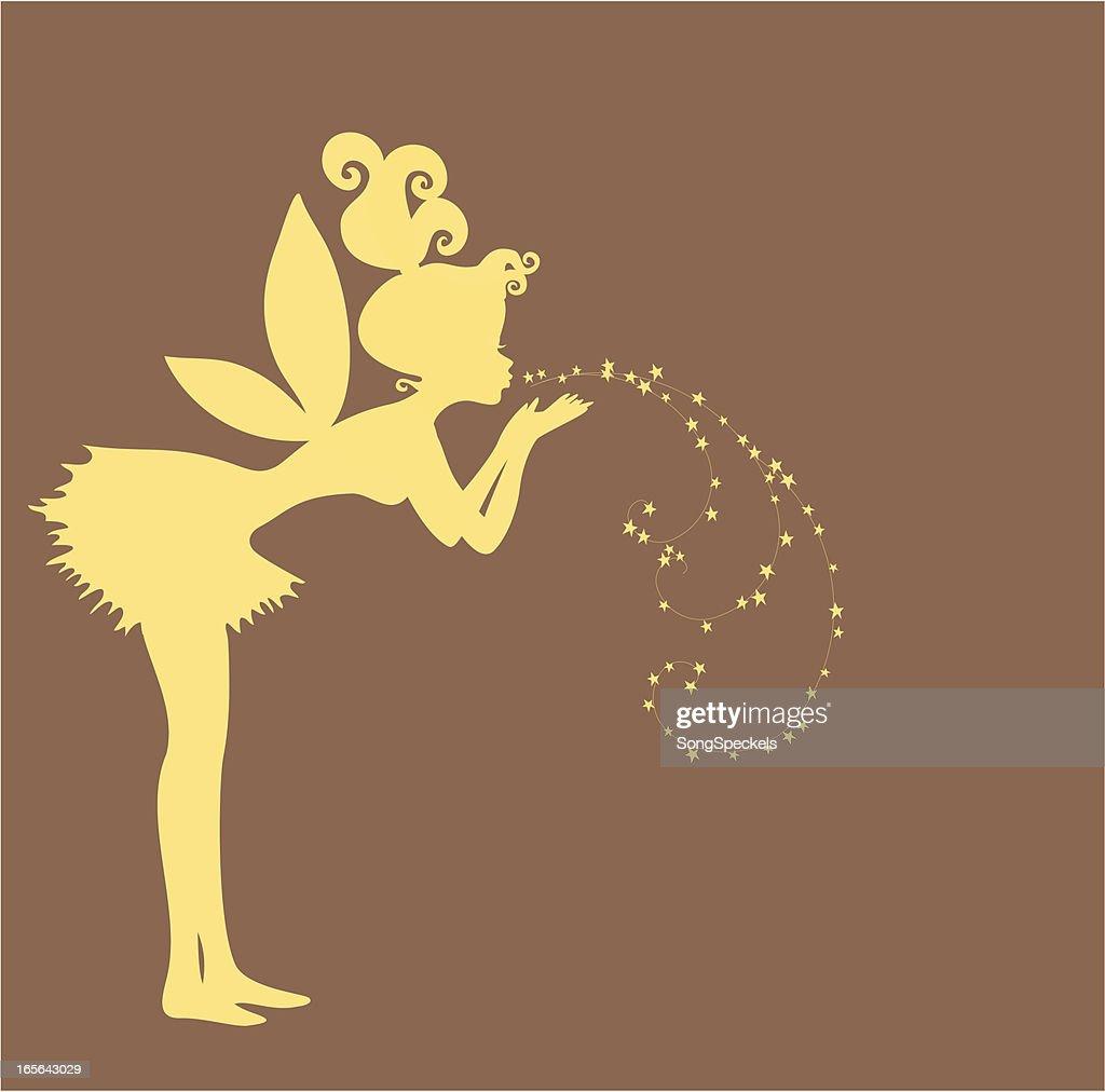Fairy blowing stardust silhouette : stock illustration