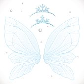 Fairy blue winter wings with snow tiaras bundled