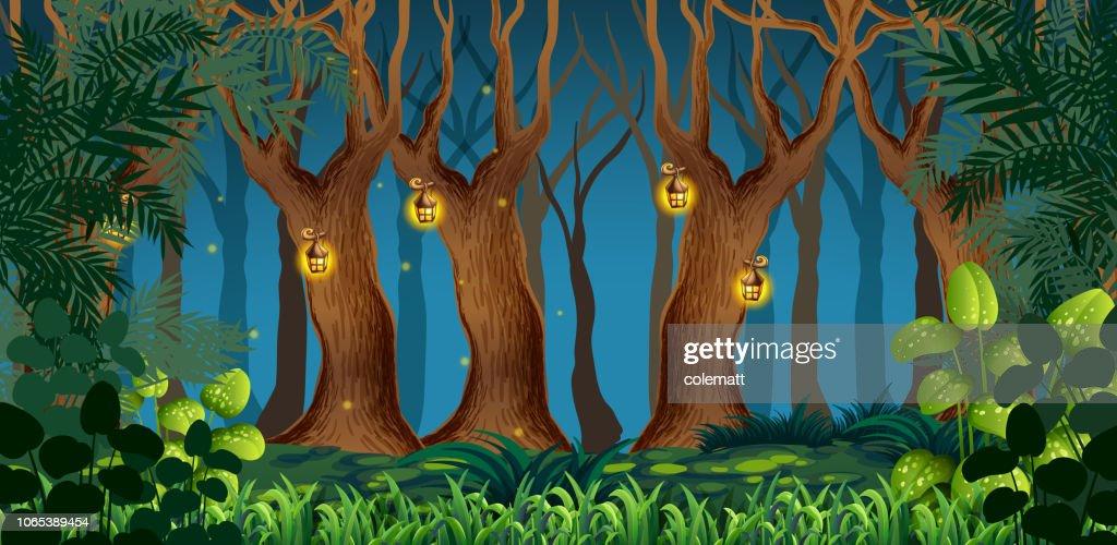 Fairy dark forest landscape