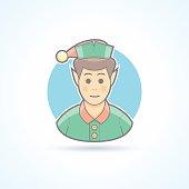 Fairy elf, Santa's assistant, minion icon. Flat avatar, person illustration.
