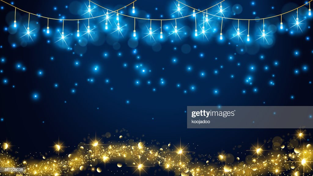 Fairy light with elegant golden concept contain more flare shape,more blue background,glowing snows,no text, and golden line on bottom.For Christmas or other celebration required  luxury theme.