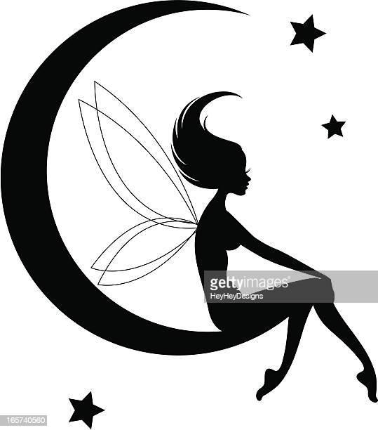fairy moon silhouette - fairy stock illustrations