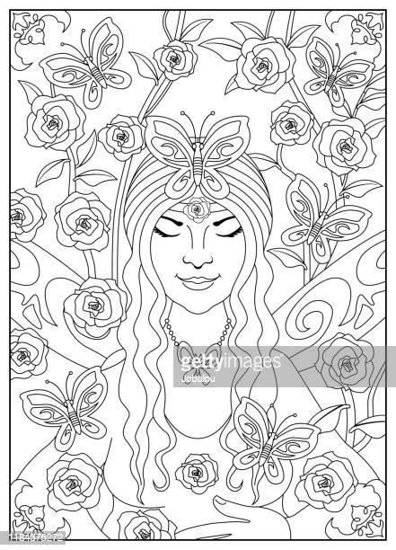 fairy of nature with butterflies and roses - drawing for colouring - innocence stock illustrations