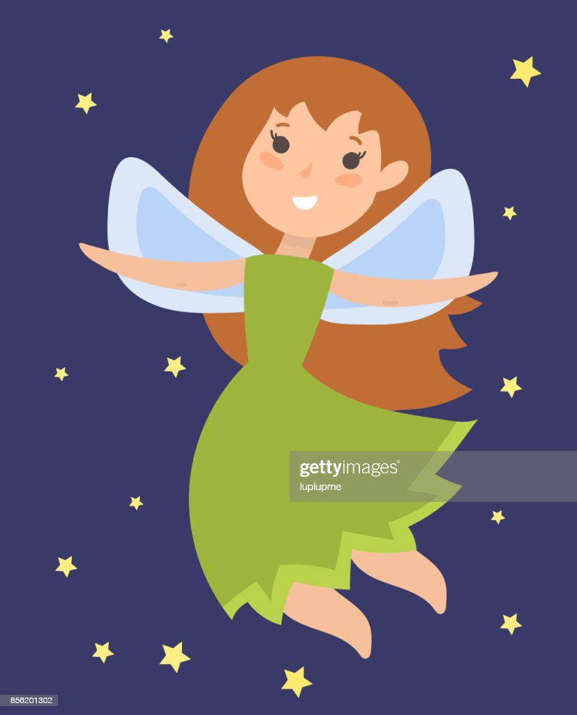 Fairy princess adorable character imagination beauty angel girl with wings vector illustration
