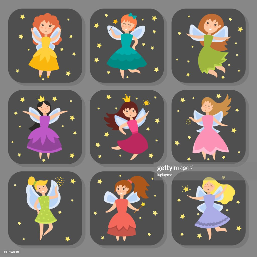 Fairy princess adorable characters cards imagination beauty angel girls with wings vector illustration