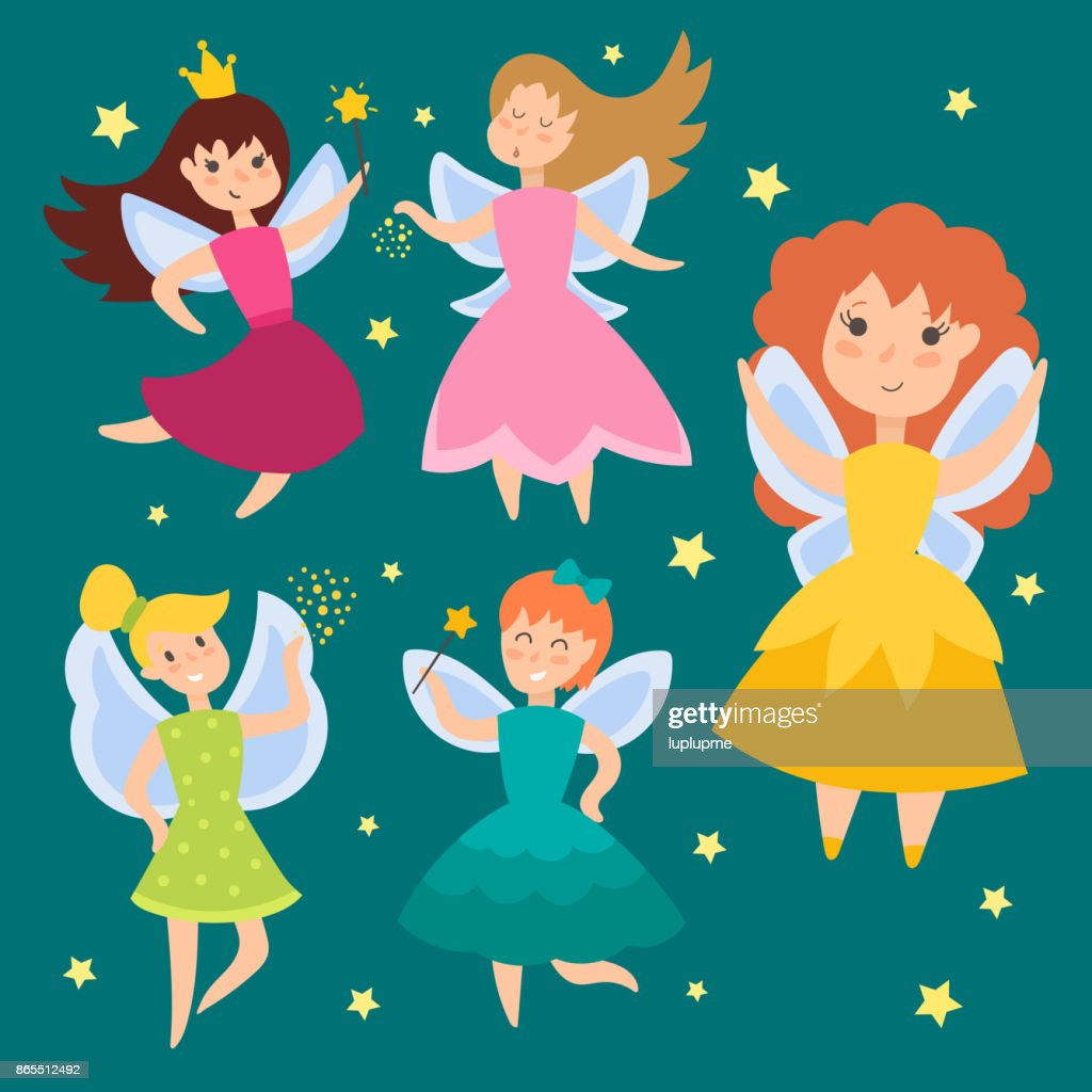 Fairy princess adorable characters Imagination beauty angel girls with wings vector illustration